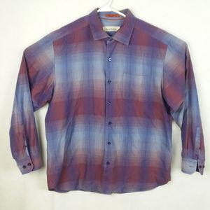Tommy Bahama Silk Cotton Blend Purple Checks XL